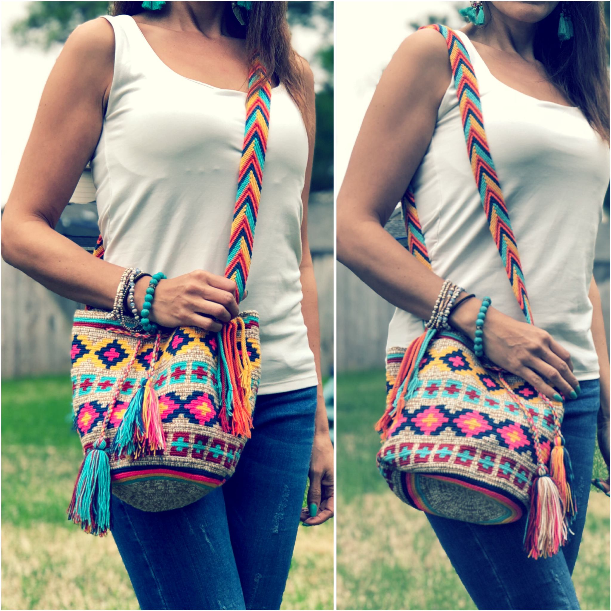 Medium-Size Colorful Crochet Bag - Crossbody Boho Bag - Style MWDM20
