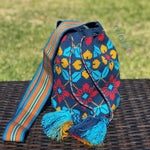 Premium Crochet Bag -  NAVY Crossbody/Shoulder Bag- Authentic Single Thread Wayuu Bag - Style MW1H18