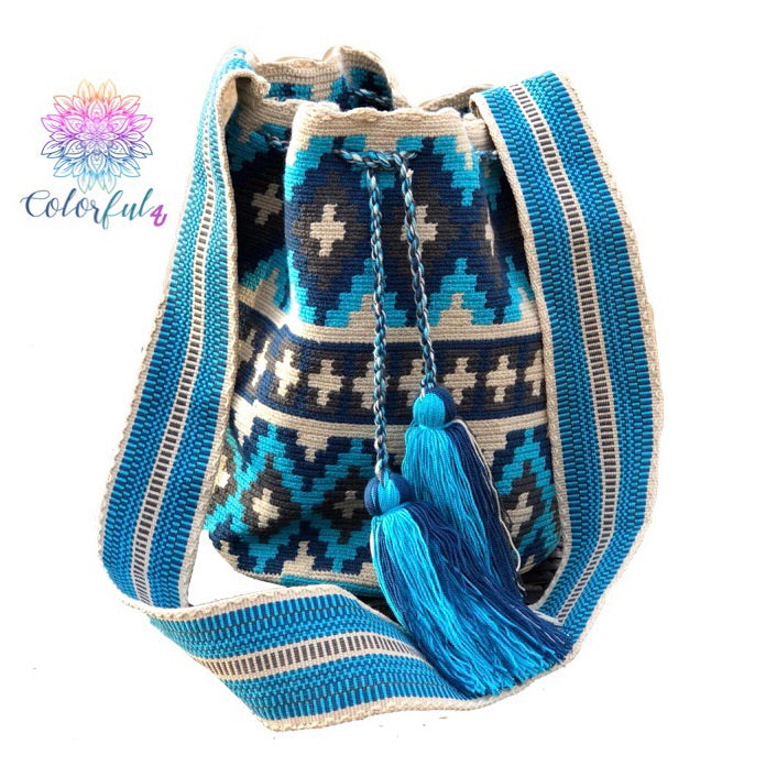 Special Edition Crochet Bag - Shades of Blue Crossbody Boho Bag -  Style MWDE17