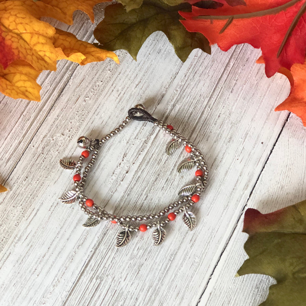 Coral-Orange Silver Beaded Bracelet | Bohemian Bracelet | Boho Bracelet with leaves