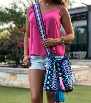 Blue Premium Crochet Bags -  Crossbody Boho Bag- Wayuu Bohemian Bag