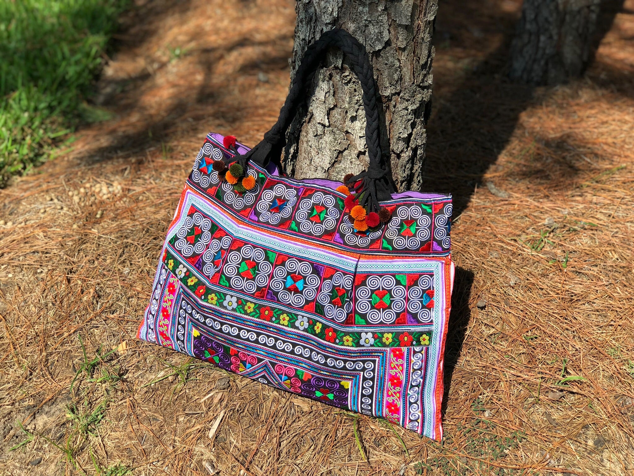 Colorful Embroidered Tote Bag - Boho Chic Large Handbag - Style CEPTB02