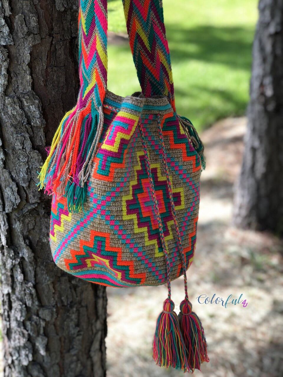 Colorful Crochet Boho Bag - Crossbody/Shoulder Bucket Bag-Beach Wayuu