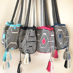 Black & White Crochet Bag-Fashion Crossbody Bags-Wayuu-Tassel Boho Bag