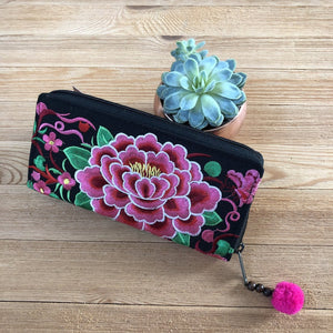 Pink Embroidered Bohemian Wallet- Boho Chic Clutch Bag- Boho Wallet