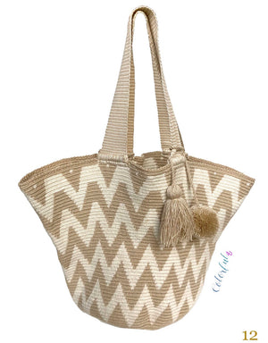 White/Tan Tote Bag | Beach Bags | Beach Totes | Summer Bags