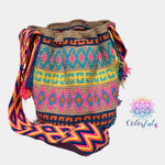 Colorful Crochet Bag - Crossbody Boho Bag -  Shades of Brown Style MWM0033