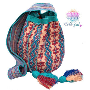 Turquoise/Pink Crochet Bags - Crossbody/Shoulder Bag