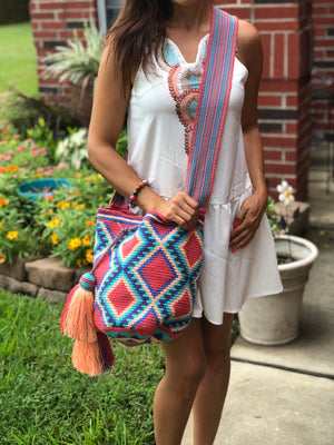 Rose Crossbody Crochet Bag-Boho Bag-Bohemian-Bucket-Hippie-Wayuu