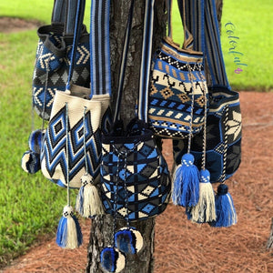 Shades of Blue - Crochet Bags - Crossbody boho bags- Wayuu style