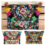 Colorful Embroidered Boho Clutch - Style CEPC