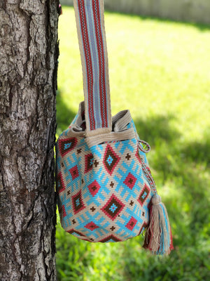 Premium Crochet Bag -  Crossbody/Shoulder Bag- Authentic Single-Thread Wayuu Bag - Style MW1H22