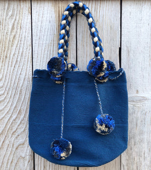 NAVY Braided Handle Boho Bag -Crochet Pompom Handbag - Bohemian Bag -Wayuu