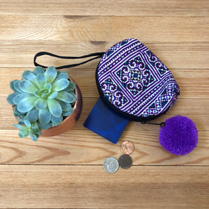 PURPLE Embroidered Coin Purse-Bohemian Mini Purse-Boho Chic Wristlet
