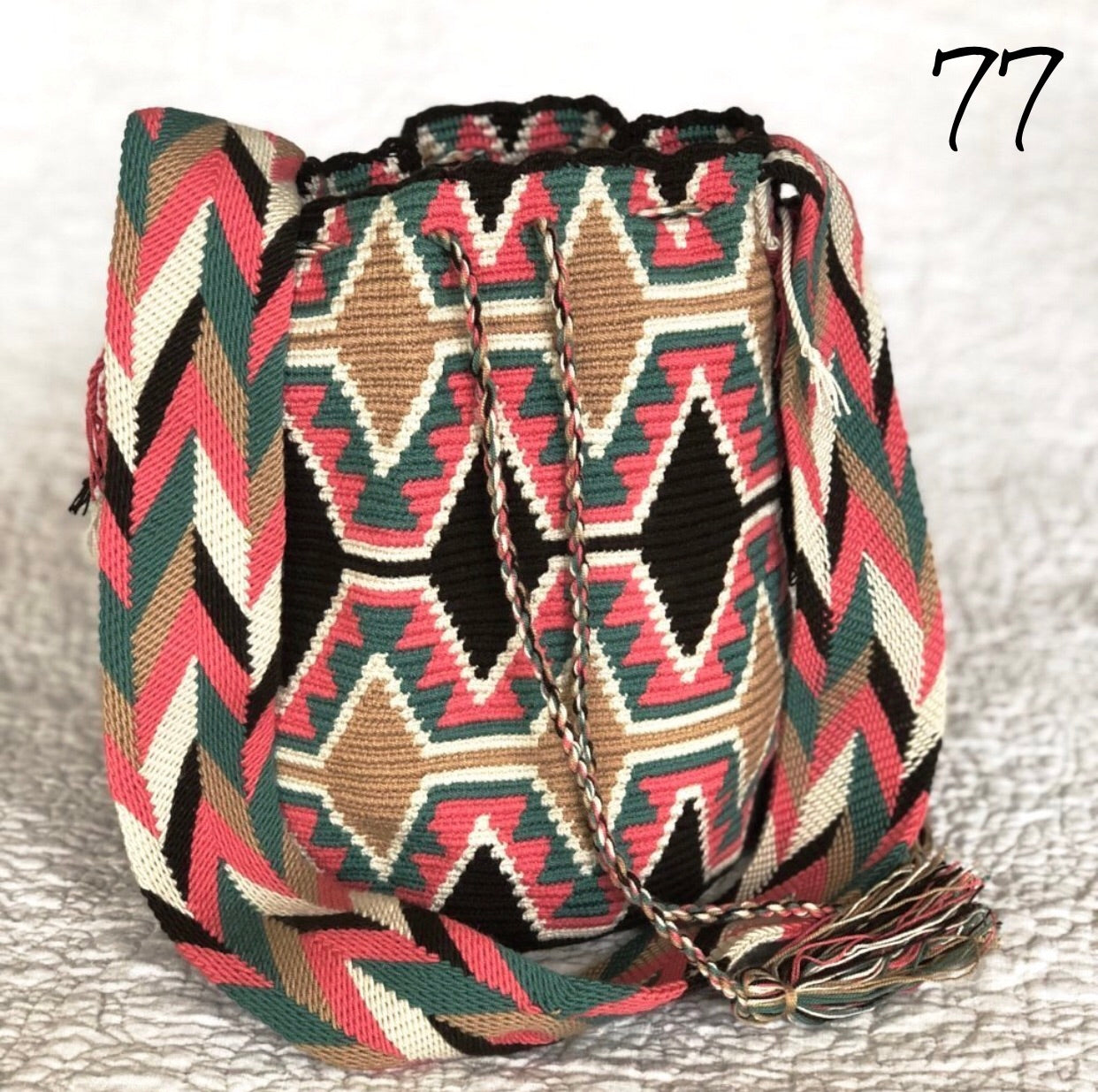 Colorful 4U | Desert Dreams Bag | Crossbody Boho Bags for Fall | Wayuu Mochila | Bohemian Bucket Bag camel diamonds