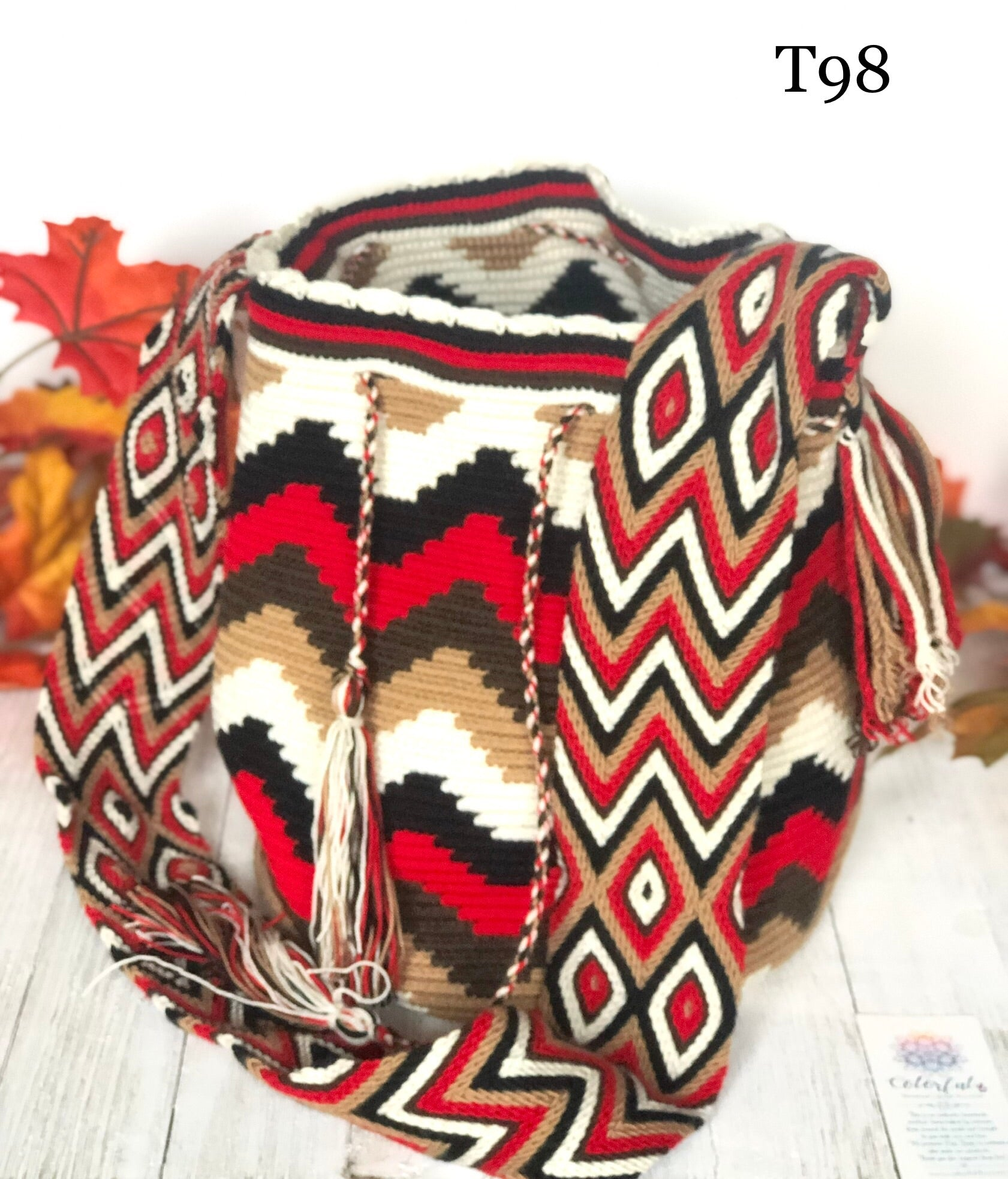 Red Chevron Handbag for Fall/Winter | Crossbody Crochet Bag | Boho Bag | Wayuu Mochila
