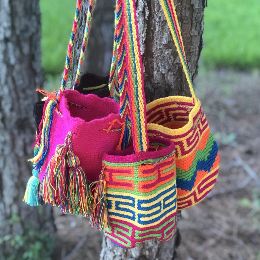 NEON Mini Crochet Bag-Authentic Wayuu Bag-Small Summer Bags-Beach Bags
