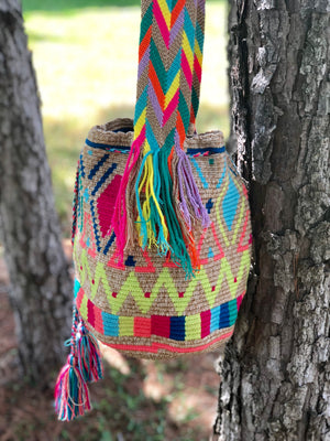 Colorful-Diamonds Crochet Bags - Crossbody Boho Bag -  Shades of Brown Style