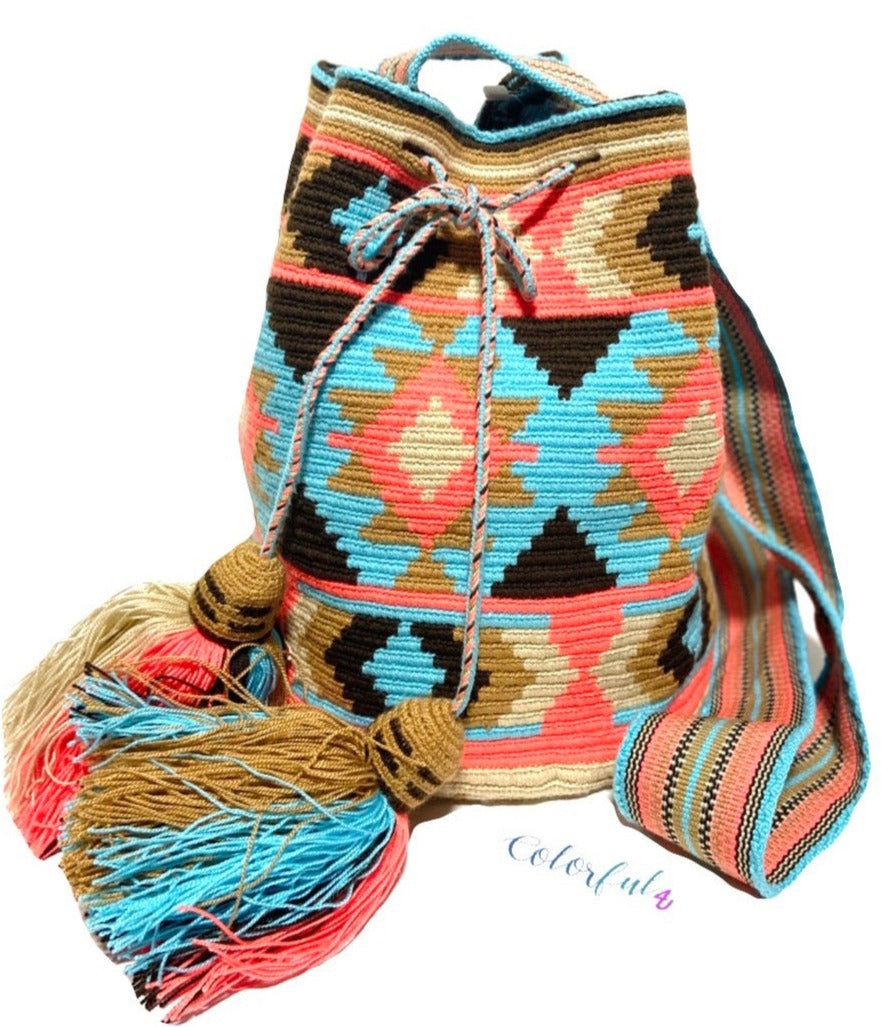 Dark Brown Coral Coral Crossbody Crochet Bag-Wayuu Mochila-Bucket Bag