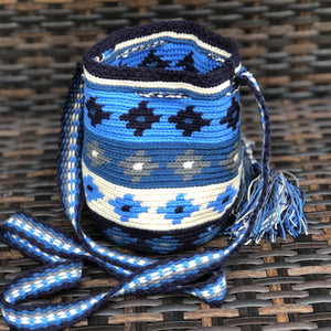 AZULA Mini Crochet Bag - Authentic Wayuu Mochilap Bag -  Style MWPD48