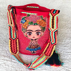 RED FRIDA Inspired Crochet Bag - Crossbody Bucket Bag-Boho -Wayuu