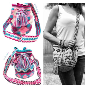 Spring Colors | Medium Crossbody Crochet Bag | Bohemian Bucket Bags