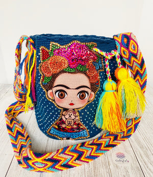 Medium Frida Tribute Crochet Bags with Crystals