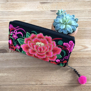 Red Embroidered Bohemian Wallet- Boho Chic Clutch Bag- Boho Wallet