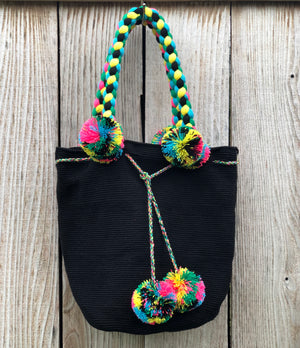 black Braided Handle Boho Bag -Crochet Pompom Handbag - Bohemian Bag -Wayuu