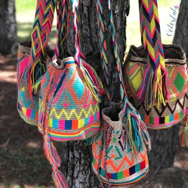 Colorful Beach Bag - Crossbody Summer Crochet Bag -Bohemian Wayuu