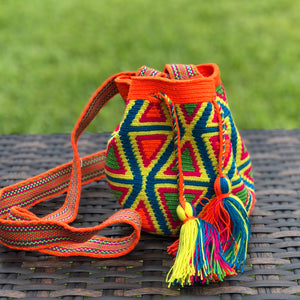 PREMIUM Mini Croche t Bag - Authentic One-thread Wayuu Bag -  Style MWPP20 Orange