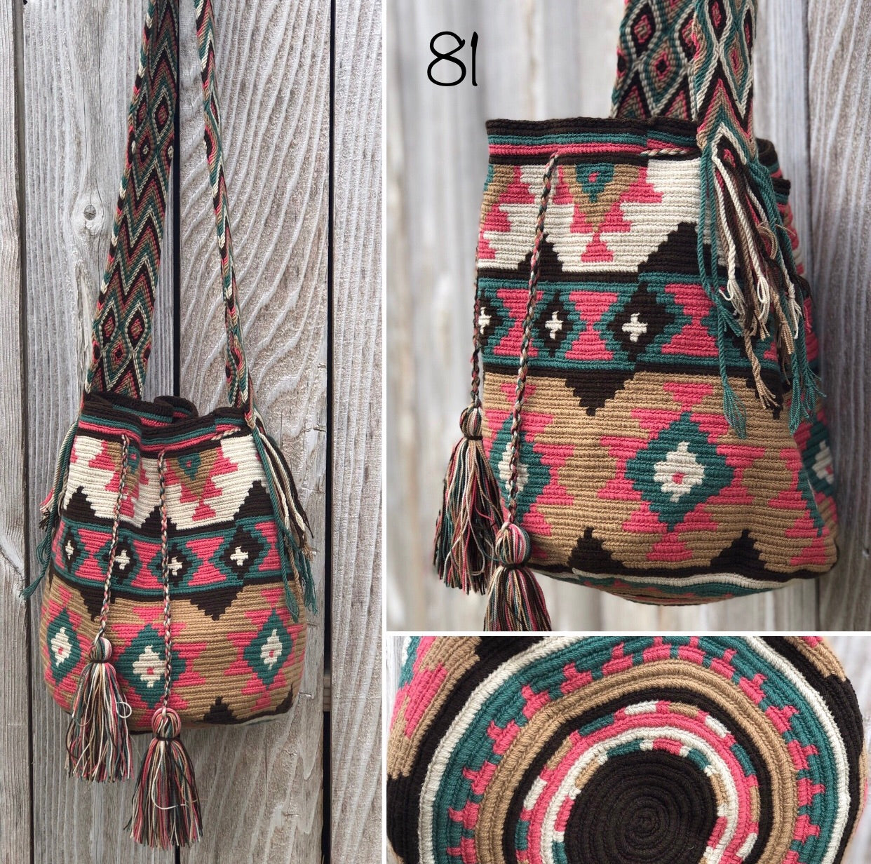 Colorful 4U | Desert Dreams Collection | Crossbody Boho Bags for Fall | Wayuu Mochila | Bohemian Bucket Bag 81