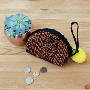 BROWN Embroidered Coin Purse-Bohemian Mini Purse-Boho Chic Wristlet