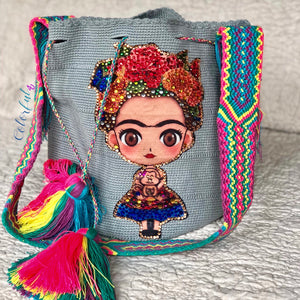 Gray FRIDA Crochet Bag - Crossbody/Shoulder Bucket Bag-Boho Bag-Wayuu Bag