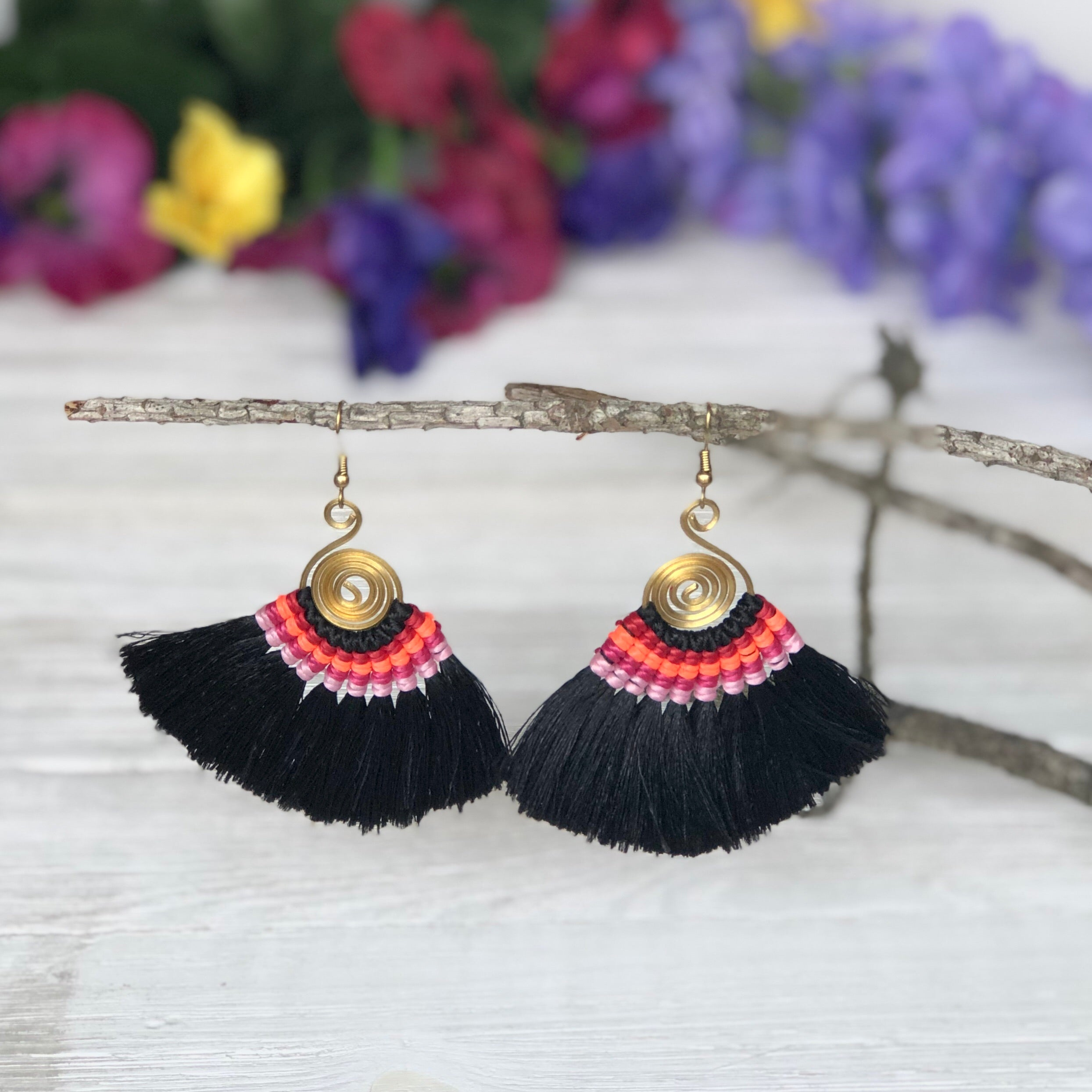 BLACK Tassel Earrings-Woven Silk Thread Fringe Earrings-Tribal-Boho