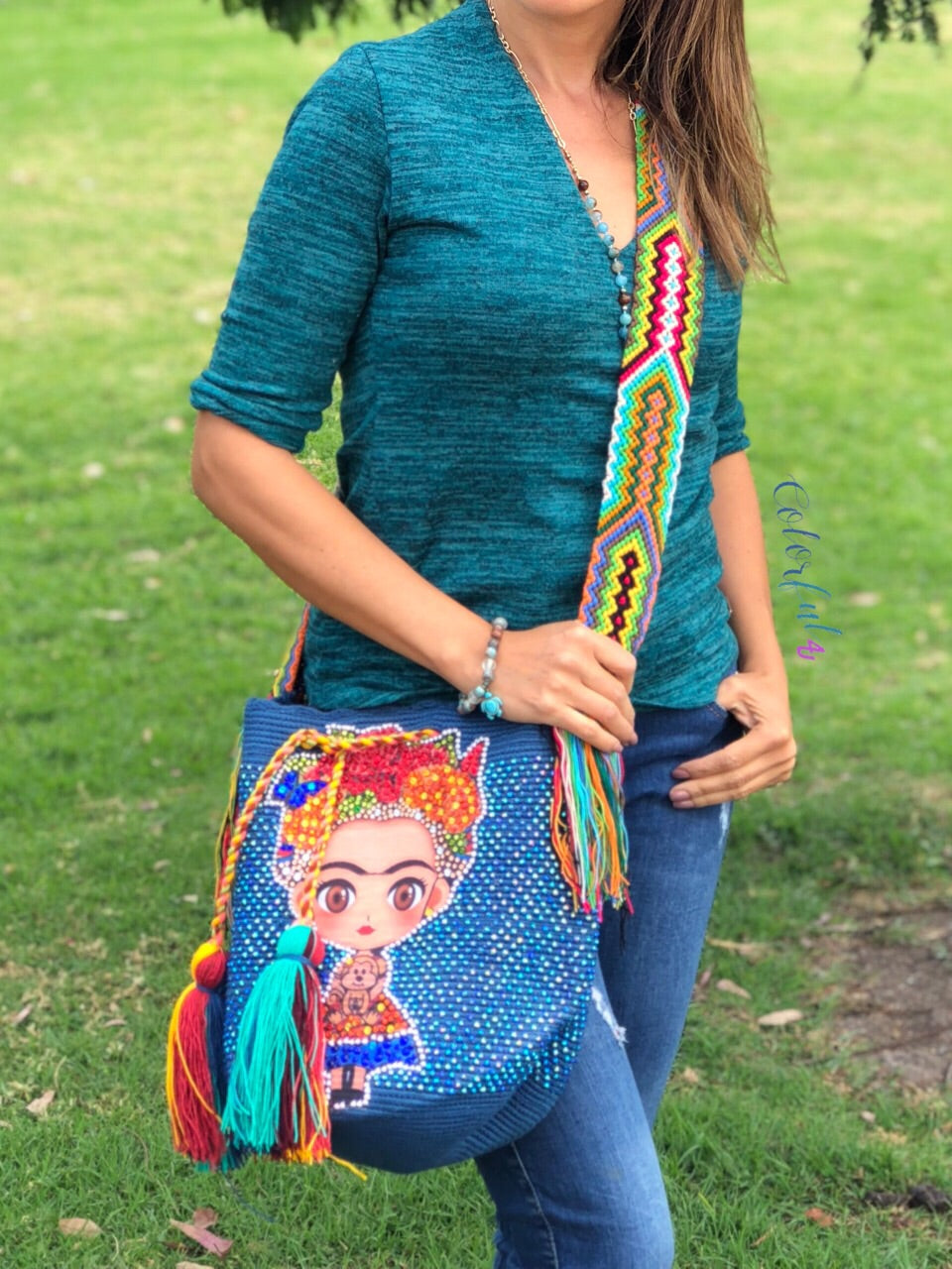 FRIDA Crochet Bag - Crossbody/Shoulder Bucket Bag-Boho Bag-Wayuu Bag