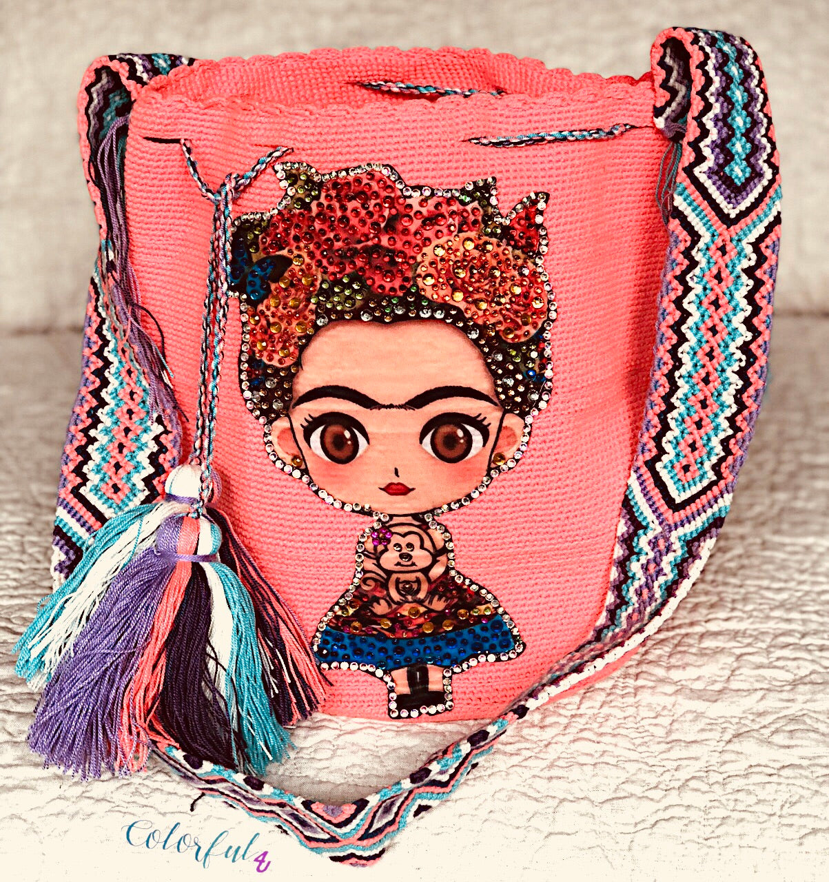 Peach FRIDA Crochet Bag - Crossbody/Shoulder Bucket Bag-Boho Bag-Wayuu Bag