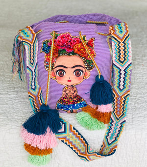 LILAC FRIDA Inspired Crochet Bag - Crossbody Bucket Bag-Boho -Wayuu