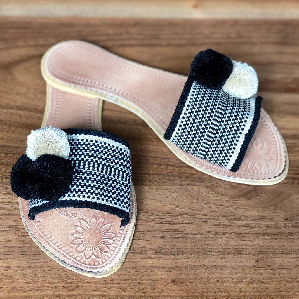 Perissa Beach-Premium Handwoven Sandals-Black & White Boho Flat Slides