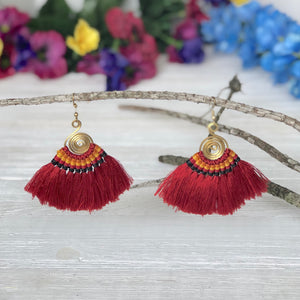 RED Tassel Earrings-Woven Silk Thread Fringe Earrings-Tribal-Boho