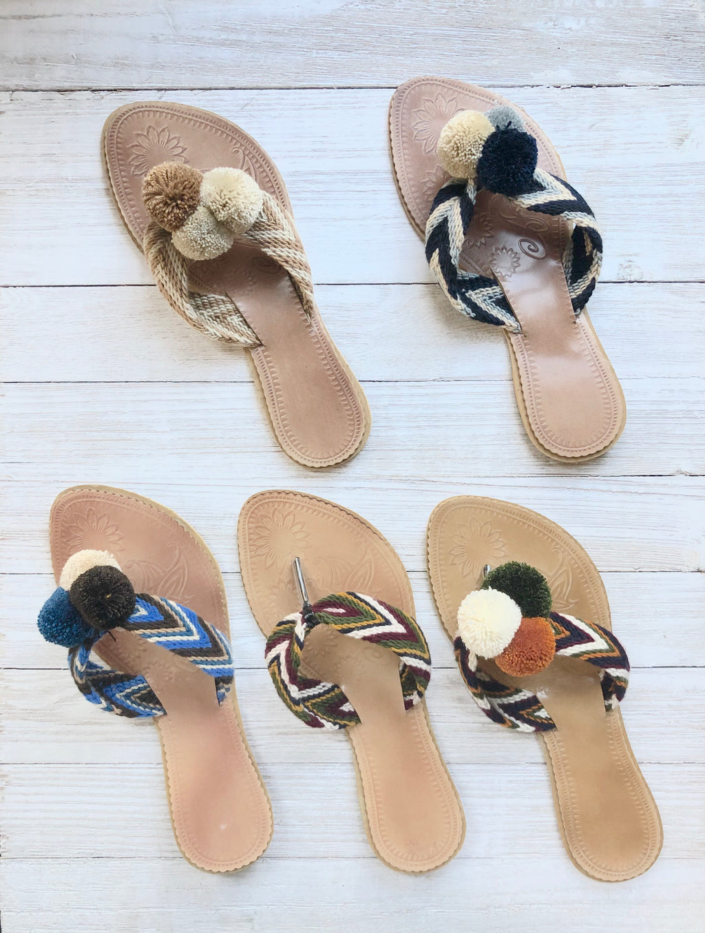 Earth Tones Pom Pom Sandals-Summer Flip-Flops-Boho Flat Sandals-Slides