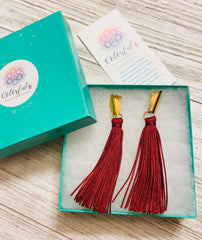 Colorful4U | Burgundy Tassel Earrings