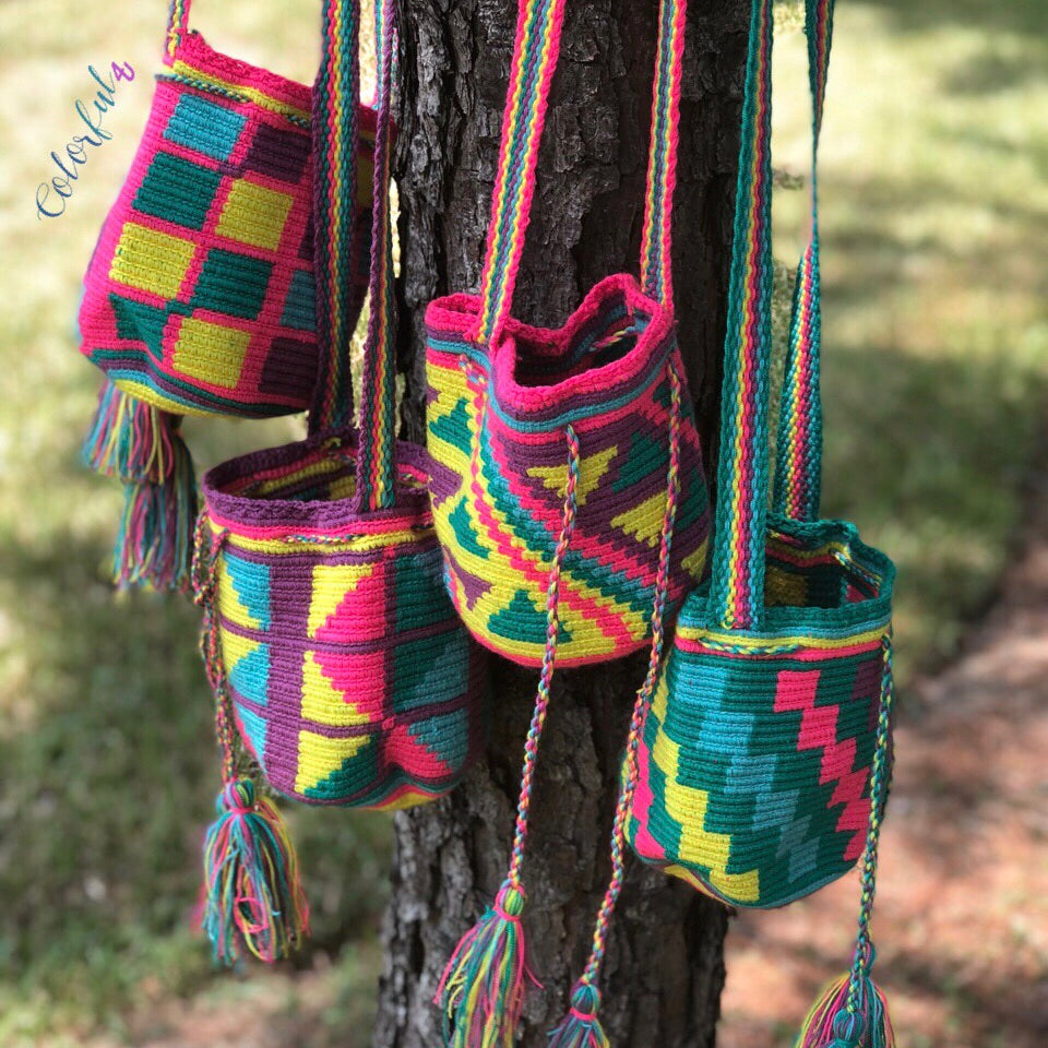 SUMMER SOLSTICE Mini Crochet Bags - Authentic Wayuu Mochila Bag -  Style MWPD60