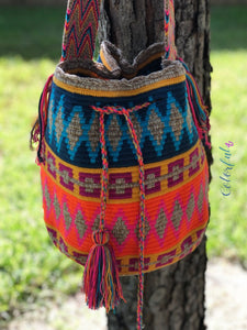 Colorful Crochet Bag - Crossbody Boho Bag -  Shades of Brown Style MWM0078