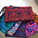 Colorful Embroidered Wristlet Bag - Boho Chic Pom-Pom Clutch