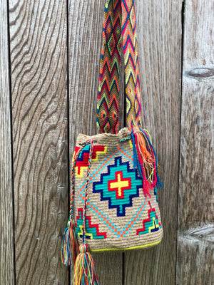 Colorful Crochet Bag - Crossbody Boho Bag -  Shades of Brown Style MWM0065