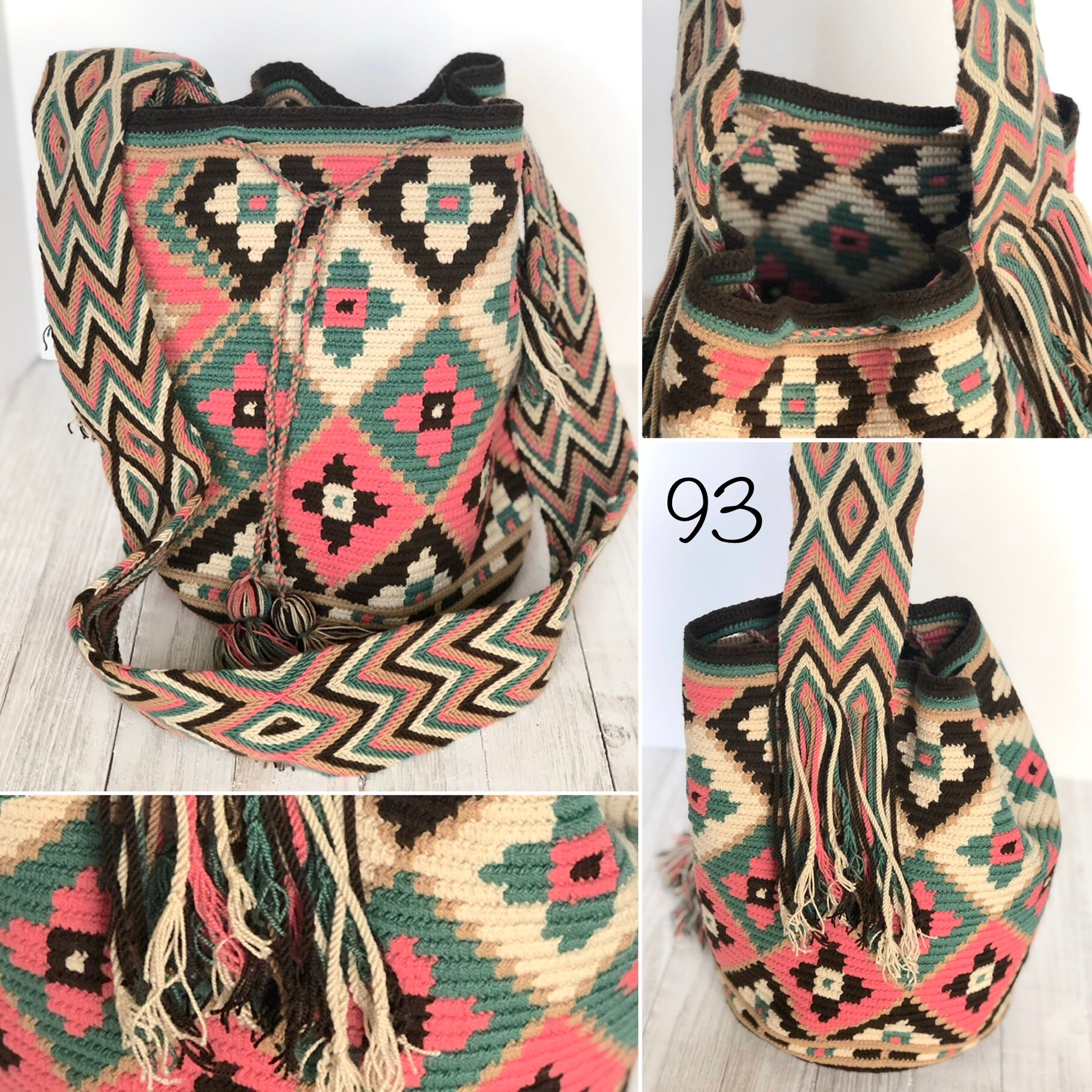 Colorful 4U | Desert Dreams Collection | Crossbody Boho Bags for Fall | Wayuu Mochila | Bohemian Bucket Bag 93- cute flowers