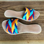 Colorful Sandals-Pom Pom Flip Flops-Summer Flats-Cute Beach Slides