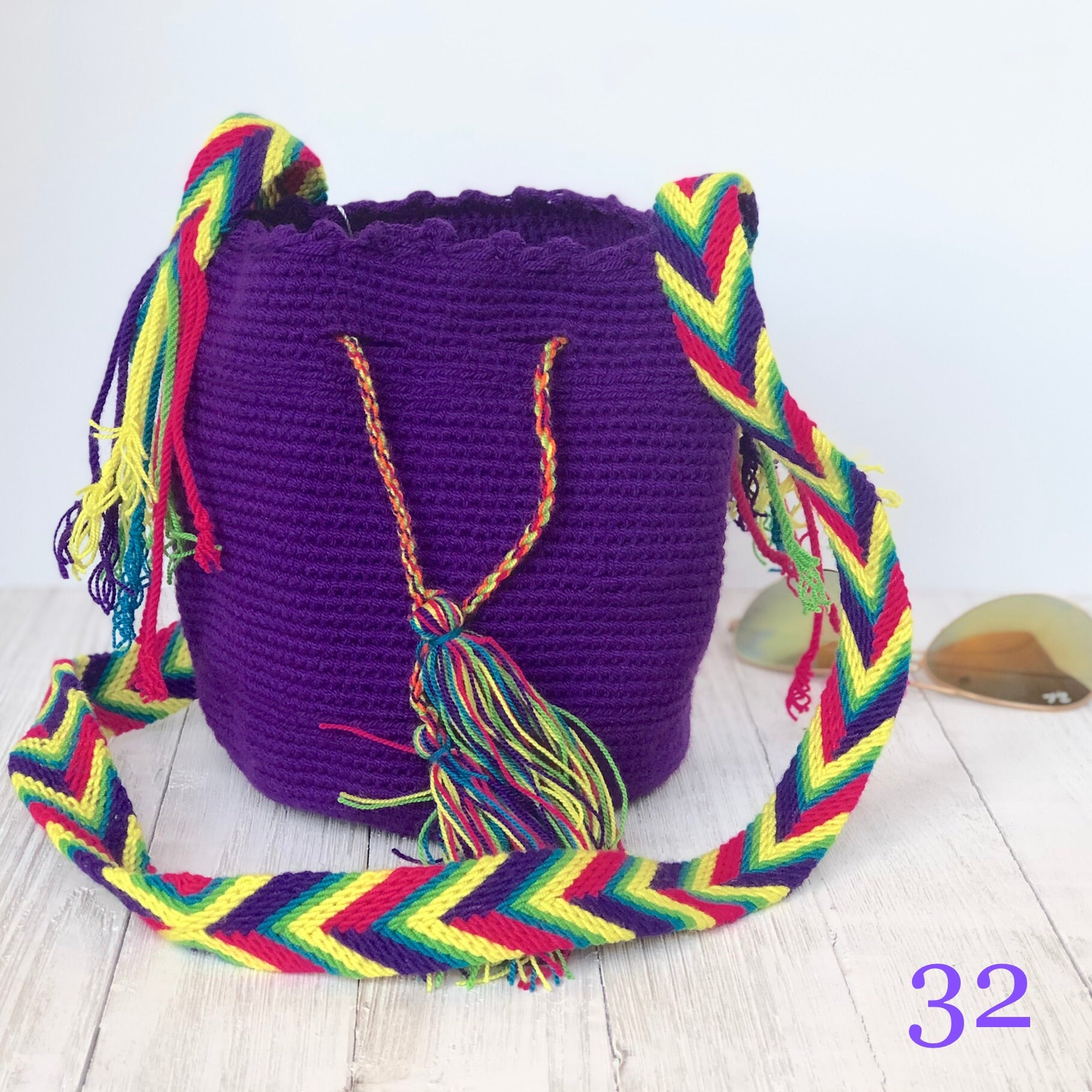 Purple Mini Crochet Bags-Small Wayuu Bags-Girls Summer Crossbody Bags