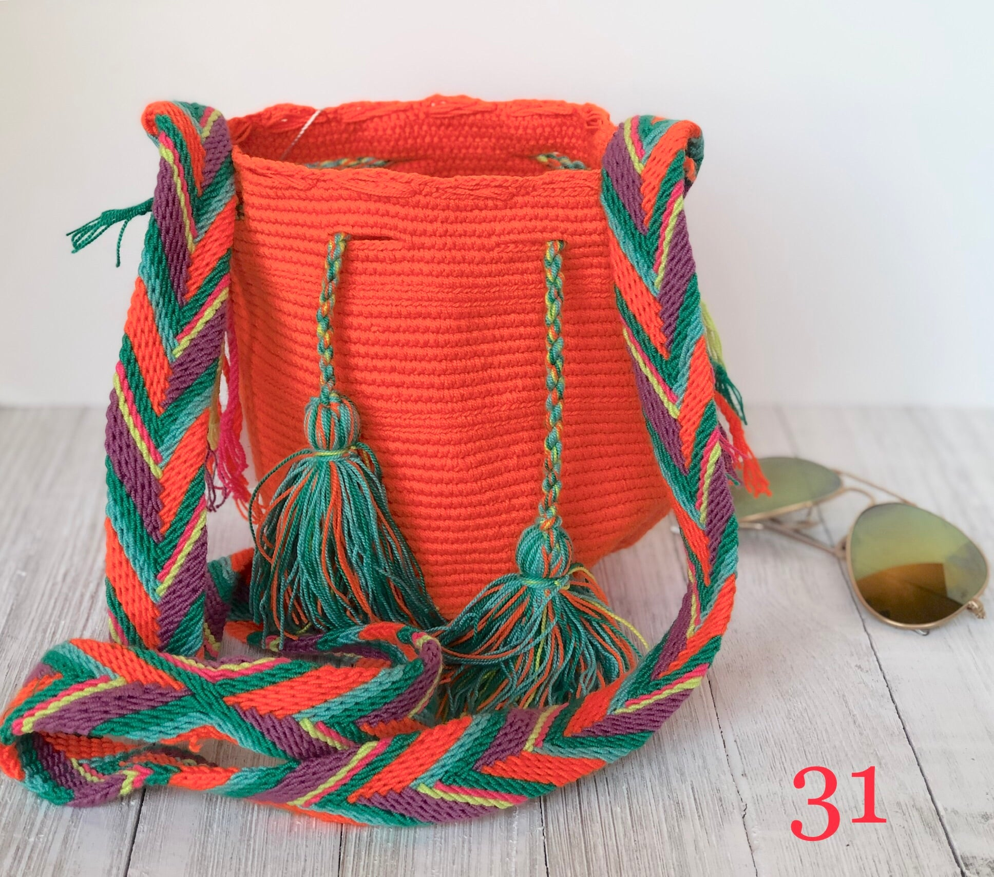 Orange Mini Crochet Bags-Small Wayuu Bags-Girls Summer Crossbody Bags